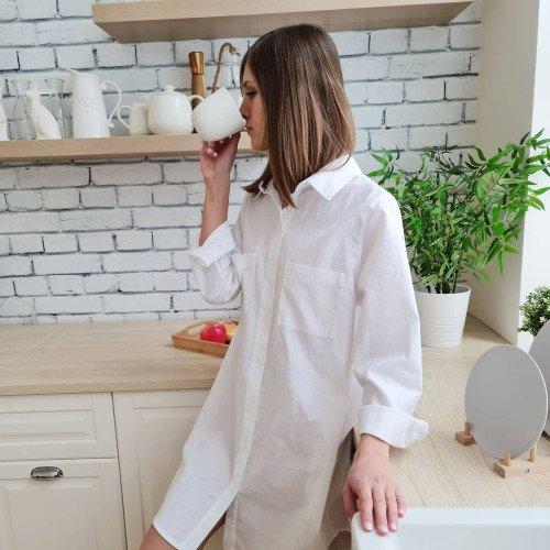 Женская рубашка от производителя размер S,M,L, белый индиго 4900 руб